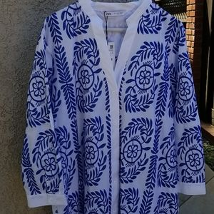 NWT Zara blue and white embroidered dress sz large